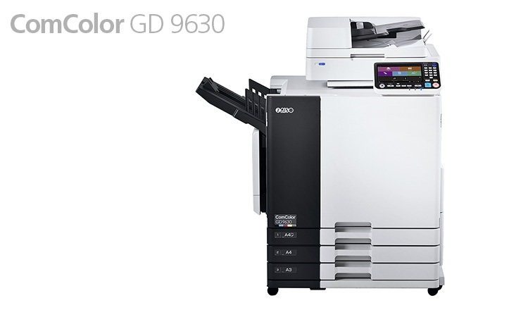 Regardless of the number and types of images or volume of text, full-color images remain true to the original with the GD 9630. For text-intensive documents, words remain crisp and easy to read. Super High-speed Printing Single-pass full-color printing of up to 160 Letter size long-edge feed color pages per minute with fast-drying oil-based pigment ink is possible through a unique print engine configured with static inline inkjet heads arranged in parallel. Transactional prints, transpromotional materials, invoices, and other routine business documents are also fast.