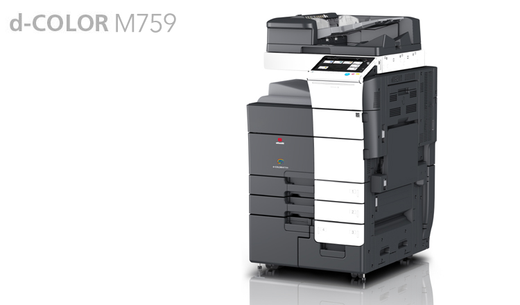 The d-Color MF759 A3 colour multifunctional system delivers top of the range performance at 75 ppm in monochrome and 65 ppm in full-colour output and thrives on heavy work conditions. Print quality is maintained even at high speed and to meet the most demanding challenges, the d-Color MF759 is provided with a wide array of optional accessories for enhanced capabilities. With its high capacity automatic document feeder and superior scanning speed, the d-Color MF759 is the ideal tool for the digitising of documents, simplifying and accelerating the processes for digital archiving. With the optional Fiery Controller the d-Color MF759 becomes a graphic printing system.