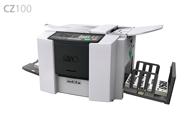 The CZ100 is a high-speed master making printer with a fully automatic stencil printing method. It has a 300dpi x 300dpi scanner and printer resolution prints up to 120 pages per minute. The printer's ADF is semi-automatic and can print in custom mode as well as program printing. It has the ability to utilise the Risolar or the Power Pedestal to run completely off the grid.