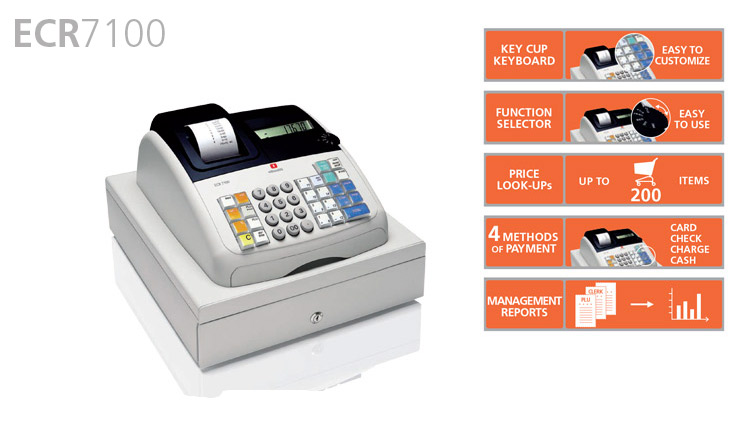 The Olivetti ECR 7100 is a non-fiscal Electronic Cash Register available from Durban Data Imports. This unit provides the option of working in 'training mode' which is invaluable for staff training with simulated sales transactions and issuing of customer receipts. The ECR 7100 offers customisable receipts with different VAT breakdown options, possibility of producing a copy of the last receipt issued or of activating a non-print, paper saving mode as well as management reports: daily and monthly financial PLU and clerk reports. It is best suited to smaller retailers and businesses.