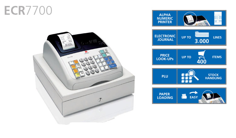 This compact, professional cash register from Olivetti is packed with convenient functions - 14 departments, up to 400 Price Look-Ups, 8 clerk codes and 4 payment methods, as well as PLU stock control and a 3,000 line electronic journal for full transaction information. Scalable fonts reduce paper consumption and the drop in loading system makes changing a roll easy and effortless.
