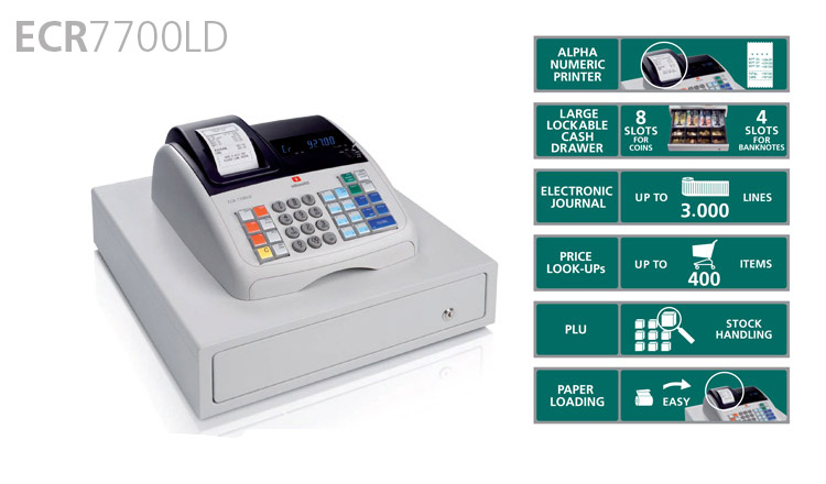Ideal for small and medium sized retailers, the Olivetti ECR 7700 LD Eco is the new eco-friendly electronic cash register which is produced from recycled plastic that can be recycled again and has low energy consumption. Available from Durban Data Imports, this Olivetti cash register is silent and reliable with an alphanumeric thermal printer and a large lockable cash drawer.