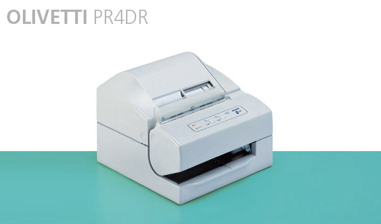 The Olivetti PR4DR is a three-station dot matrix printer, for individual forms and two paper rolls. The first station, with an automatic tear bar, is used to print receipts, the second station prints the journal and the third station prints transaction slips, inserted from the top or the front. 