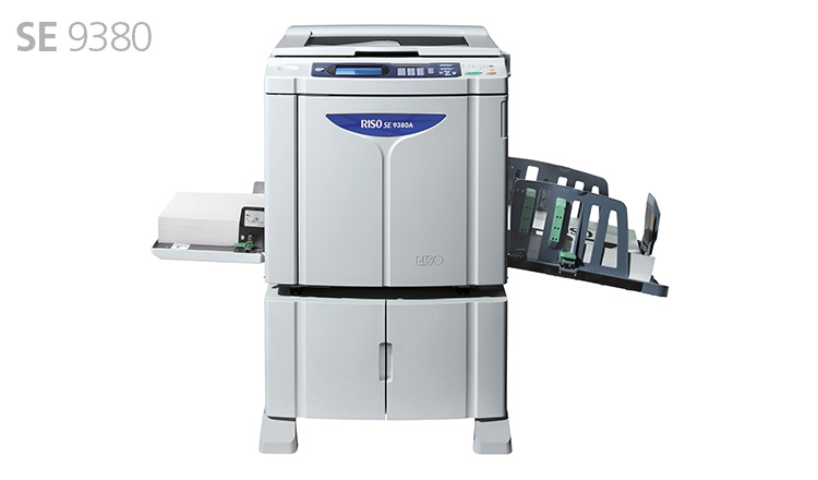 RISO SE9380 digital duplicator offers exceptional print quality at unrivalled maximum print speed and incredibly low cost, enabling easy and efficient large volume printing. It reproduces photographs and text with remarkable image quality and, in addition to enhanced environmental features, incorporates a variety of improved print functions. The RISO SE9380 is a sophisticated monochrome digital duplicator that combines versatility and productivity enhancing features with excellent image reproduction. This upgraded model boasts outstanding performance designed to meet diverse business printing needs.